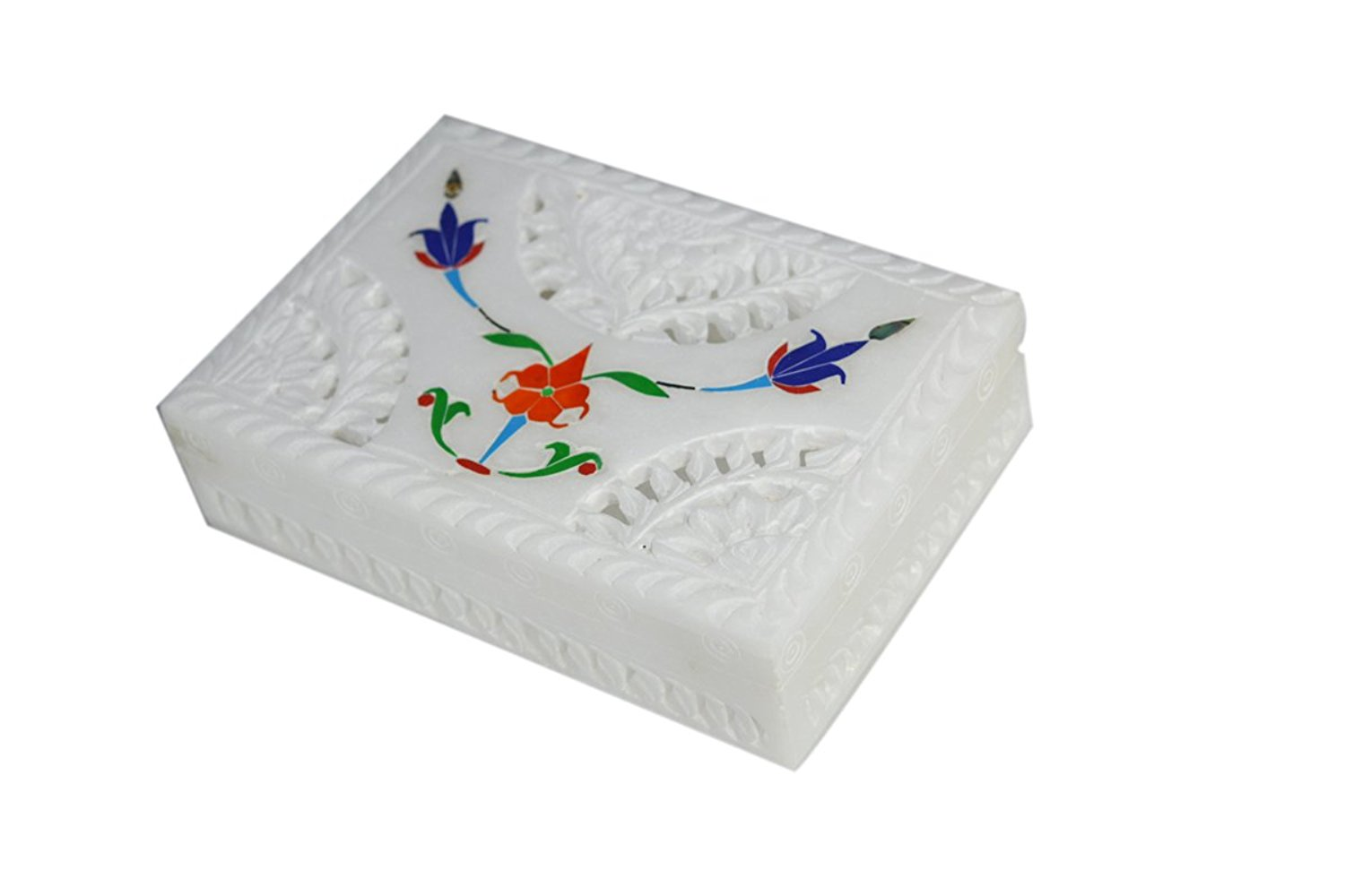 Sehar Crafts White Marble Stone Fixed Jewelry Box For