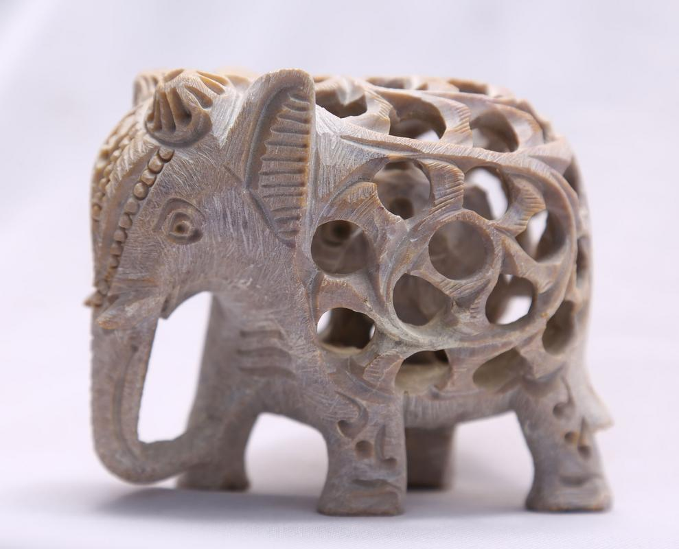 Sehar Crafts Handmade 25 Marble Elephant With Jali Design Carving With Baby Elephant Inside For Home Decoration And Gifting