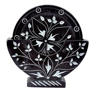 Youu0027re Viewing: Sehar Crafts Tea Coaster Plewa Black Marble Vase.Very  Attractive Standing Design And 6 Pieces Of Coasters. U20b9890.00 U20b9590.00