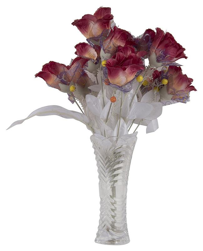 "sehar crafts glass vase with artificial flowers pot 8"" inch (6 cm x"