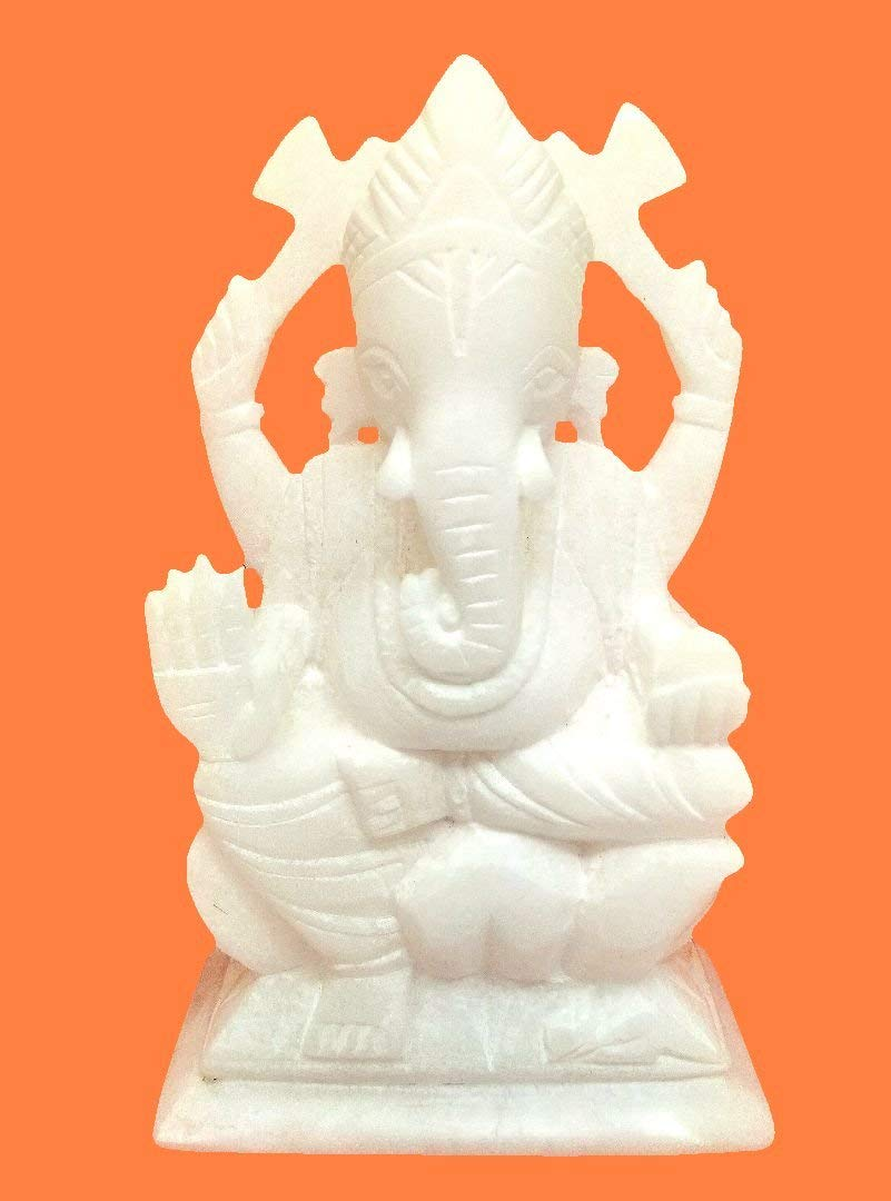 Sehar Crafts Lord Ganesha Idol Italian White Marble